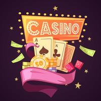 Casino Retro Cartoon Illustratie vector