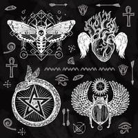Schoolbord tattoo set vector