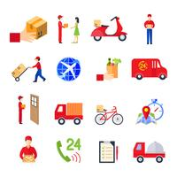Platte levering Icon Set