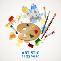 Artistieke achtergrond met palet en verven vector