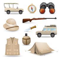 Safari-pictogrammen voor de jacht vector