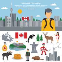 Platte icon set van Canada