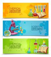 Wetenschappelijke chemische laboratorium vlakke banners instellen vector
