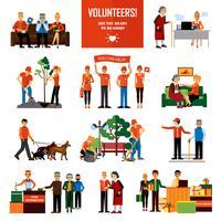 Vrijwilligers mensen decoratieve pictogrammen instellen vector
