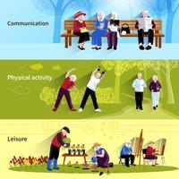 Bejaarde mensen Banners Set vector