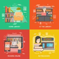 Bibliotheek concept set vector