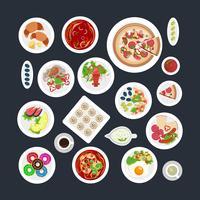 voedsel set bovenaanzicht vector