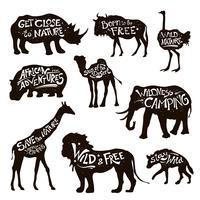 Wilde dieren belettering zwarte pictogrammen instellen vector