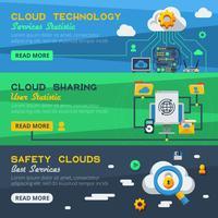 Drie banners voor clouddiensten vector