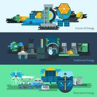 Energieproductie banner set vector