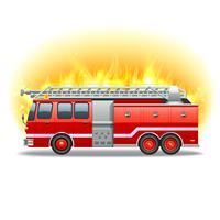 Brandweerwagen in brand