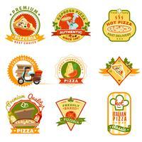 Pizza emblemen instellen vector