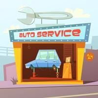 Auto Service Gebouw Achtergrond vector