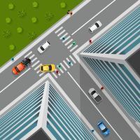 Bovenaanzicht op City Crossroad vector