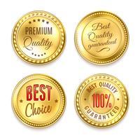 Vier gouden ronde etiketten instellen