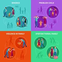 Familieproblemen decoratieve pictogrammen instellen