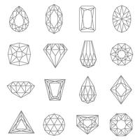 Jewels Line Icons Set vector