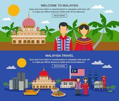 Maleisië Cultuur 2 platte banners Webpagina-ontwerp