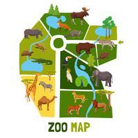 Cartoon dierentuin kaart met dieren