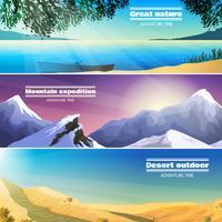kampeerlandschappen 3 platte geplaatste banners vector