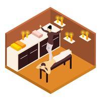 Terugmassage isometrische illustratie