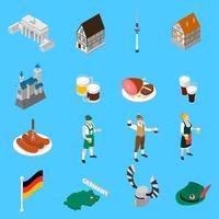 Duitse cultuur tradities isometrische pictogrammen collectie