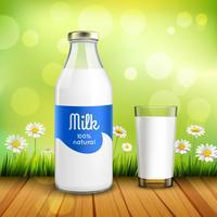 Fles en een glas melk vector