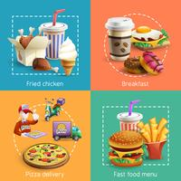 Fastfood 4 Cartoon pictogrammen vierkante samenstelling vector