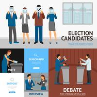 Politieke verkiezingen Flat Banners samenstelling