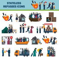 Staatloze vluchtelingenpictogrammen vector
