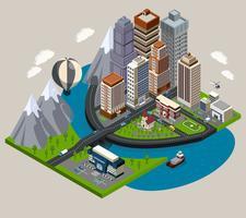 Isometrische stad Concept vector
