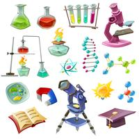 Wetenschap decoratieve pictogrammen instellen