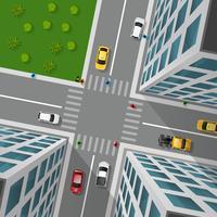 Stadsstraat Bovenaanzicht vector