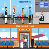 Luchthaven Banners Set vector