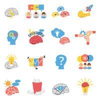 Brainstorm creatieve plat pictogrammen instellen vector