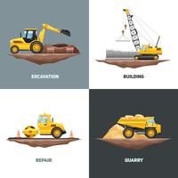 Bouwmachines 4 Flat Icons Square