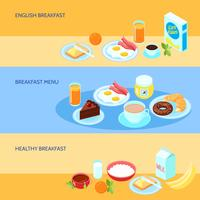 Ontbijt platte set vector