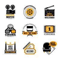 Bioscoop- en filmlabels vector