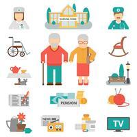 Senior levensstijl plat pictogrammen instellen vector