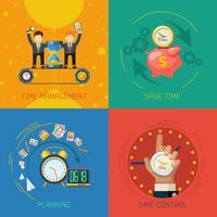 Tijd beheer plat pictogrammen vierkant samenstelling