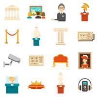 Museum decoratieve vlakke kleuren Icons Set