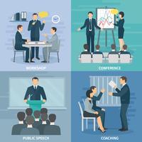 Spreken in het openbaar 4 Plat pictogrammen Vierkant