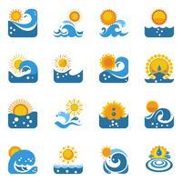 Blauwe golf met zon Icons Set vector