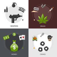 Gangster plat pictogrammen samenstelling