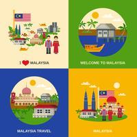 Cultuur van Maleisië 4 plat pictogrammen plein vector