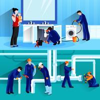 Twee loodgieter horizontale composities