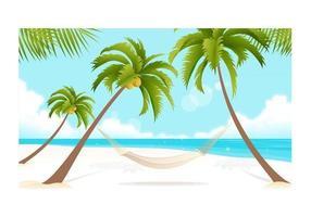 Strand en Palmbomen Vector Wallpaper