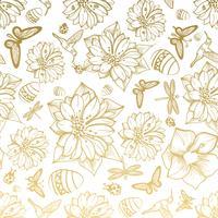Naadloze patroonbloemen, ei, vlinders, kolibries, gouden achtergrond. vector
