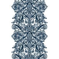 Abstract naadloos Arabisch kantpatroon met bloemen en vlinders. vector