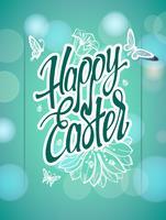 Gelukkig Pasen-teken, symbool, embleem op een groene achtergrond met de bloemen.